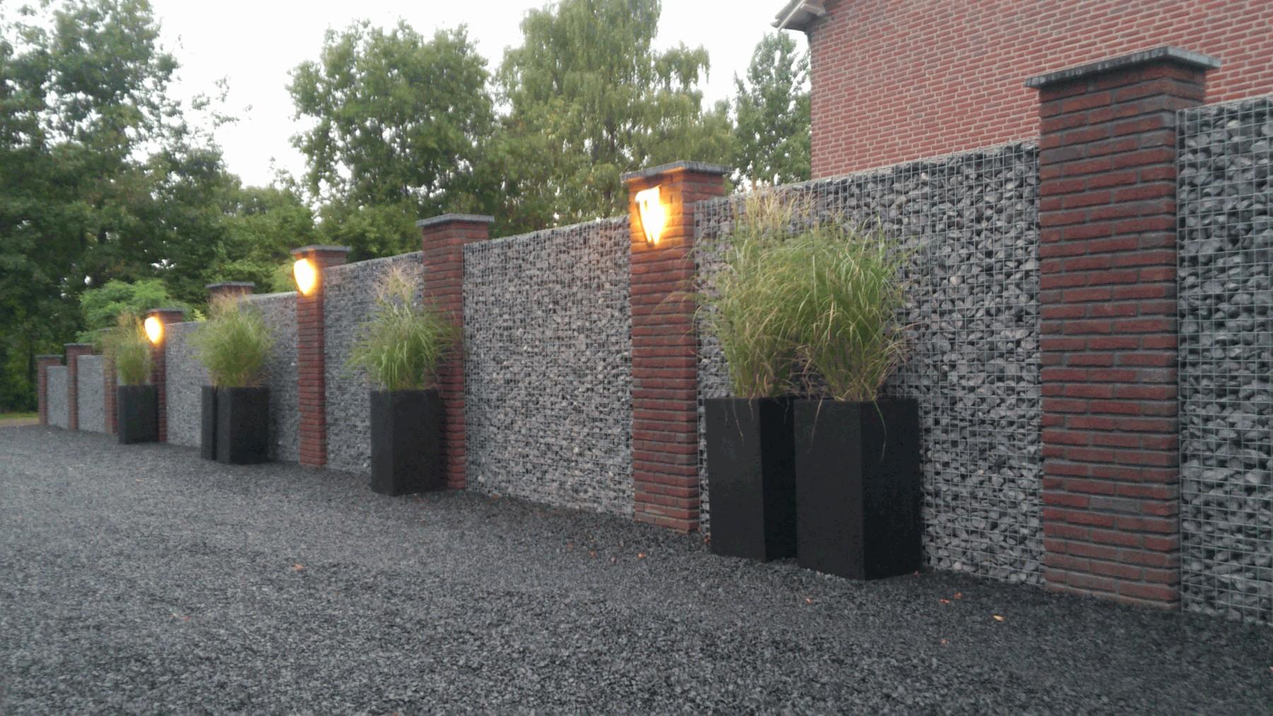Steenkorf met verlichting bij nacon schanskorven brakel for Grensafscheiding tuin